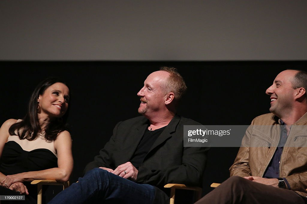 Actress/producer <a gi-track='captionPersonalityLinkClicked' href=/galleries/search?phrase=Julia+Louis-Dreyfus&family=editorial&specificpeople=208965 ng-click='$event.stopPropagation()'>Julia Louis-Dreyfus</a>, actors <a gi-track='captionPersonalityLinkClicked' href=/galleries/search?phrase=Matt+Walsh+-+Actor&family=editorial&specificpeople=13491249 ng-click='$event.stopPropagation()'>Matt Walsh</a>, and <a gi-track='captionPersonalityLinkClicked' href=/galleries/search?phrase=Tony+Hale&family=editorial&specificpeople=745565 ng-click='$event.stopPropagation()'>Tony Hale</a> attend HBO's 'VEEP' screening and panel at the Leonard H. Goldenson Theatre at the Academy of Television Arts & Sciences on June 5, 2013 in North Hollywood, California.