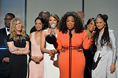 Actress/producer Oprah Winfrey and the cast and crew of 'Selma' accept the award for Outstanding Motion Picture for 'Selma' onstage during the 46th...