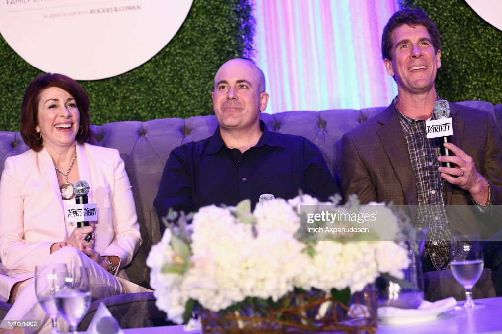 Actress/producer Patricia Heaton, screenwriters Ken Daurio and Cinco Paul speak onstage at Variety's Purpose: The Faith And Family Summit in Association with Rogers and Cowan at Four Seasons Hotel Los Angeles on June 21, 2013 in Beverly Hills, California.