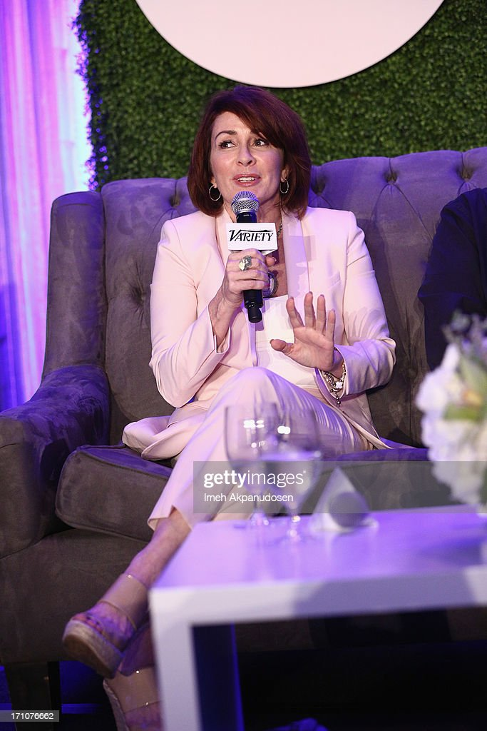 Actress/producer <a gi-track='captionPersonalityLinkClicked' href=/galleries/search?phrase=Patricia+Heaton&family=editorial&specificpeople=173459 ng-click='$event.stopPropagation()'>Patricia Heaton</a> speaks onstage at Variety's Purpose: The Faith And Family Summit in Association with Rogers and Cowan at Four Seasons Hotel Los Angeles on June 21, 2013 in Beverly Hills, California.