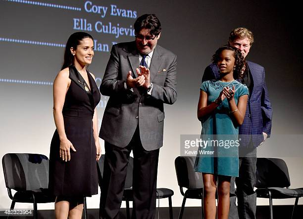 Actress/producer Salma Hayek actor Alfred Molina actress Quvenzhane Wallis and director Roger Allers speak onstage at a QA for the screening of...
