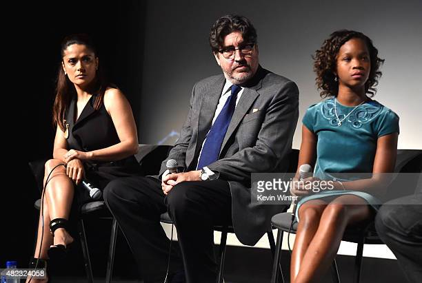 Actress/producer Salma Hayek actor Alfred Molina and actress Quvenzhane Wallis speak onstage at a QA for the screening of GKID's 'Kahlil Gibran's The...