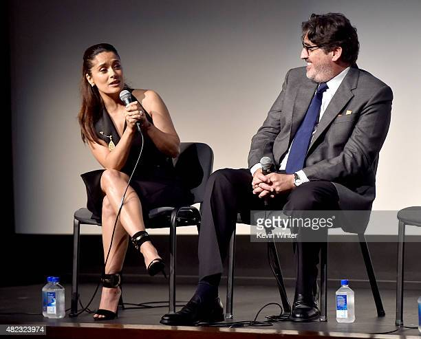 Actress/producer Salma Hayek and actor Alfred Molina speak onstage at a QA for the screening of GKID's 'Kahlil Gibran's The Prophet' at the Los...
