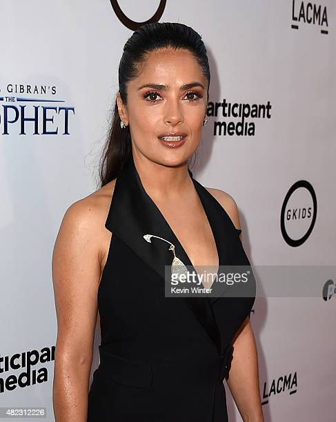 Actress/producer Salma Hayek attends the screening of GKIDS' 'Kahlil Gibran's the Prophet' at Bing Theatre at LACMA on July 29 2015 in Los Angeles...