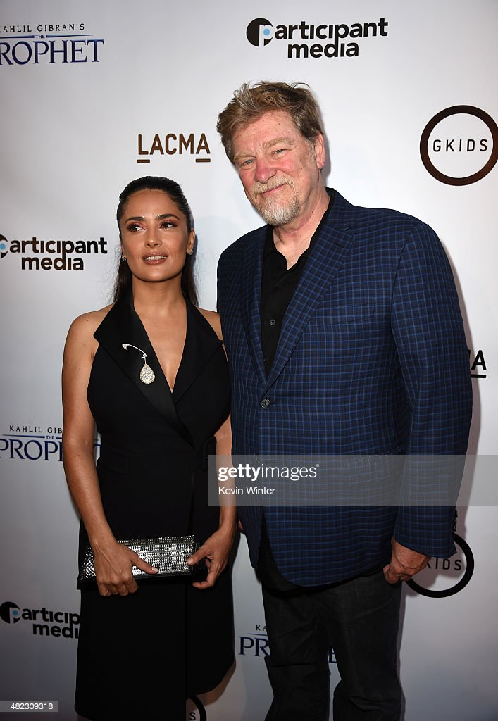 Actress/producer Salma Hayek Pinault (L) and writer/director Roger Allers attend the screening of GKIDS' 'Kahlil Gibran's the Prophet' at Bing Theatre at LACMA on July 29, 2015 in Los Angeles, California.