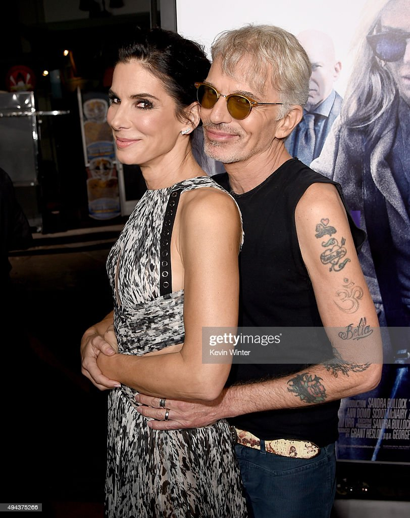 Actress/producer Sandra Bullock (L) and actor Billy Bob Thornton attend the premiere of Warner Bros. Pictures' 'Our Brand Is Crisis' at TCL Chinese Theatre on October 26, 2015 in Hollywood, California.