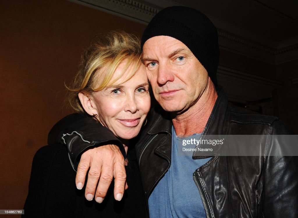 Actress/producer <a gi-track='captionPersonalityLinkClicked' href=/galleries/search?phrase=Trudie+Styler&family=editorial&specificpeople=203268 ng-click='$event.stopPropagation()'>Trudie Styler</a> and her husband singer Sting attend the Abrons Arts Center on October 27, 2012 in New York City.