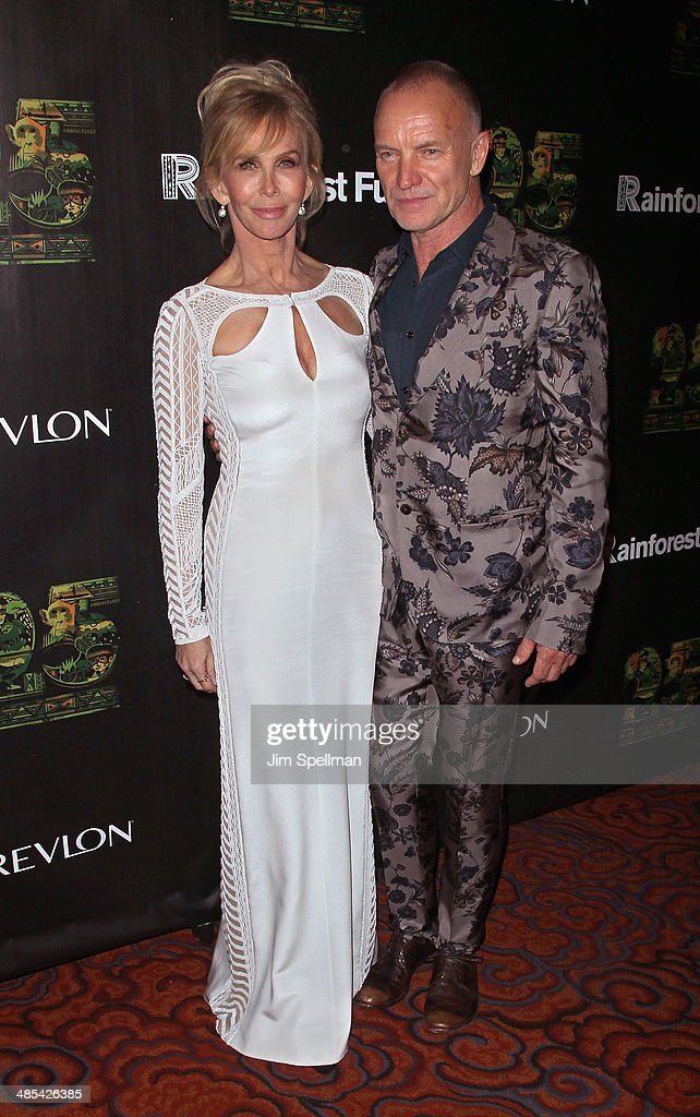 Actress/producer Trudie Styler and singer/songwriter Sting attend the 25th Anniversary Rainforest Fund Benefit at Mandarin Oriental Hotel on April 17, 2014 in New York City.