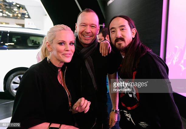 Actress/radio personality Jenny McCarthy recording artist/actor Donnie Wahlberg and DJ Steve Aoki attend a broadcast of 'The Jenny McCarthy Show on...