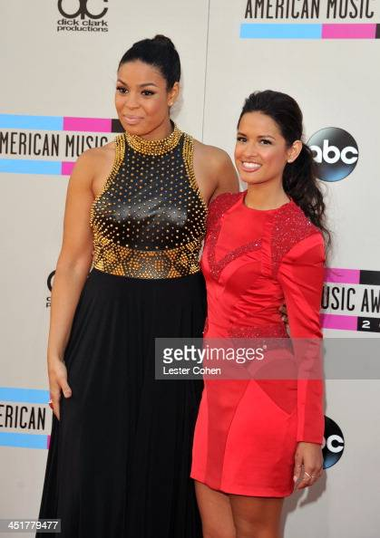Actress/recording artist Jordin Sparks and TV personality Rocsi Diaz attend the 2013 American Music Awards at Nokia Theatre LA Live on November 24...