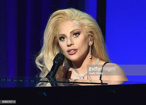 Actress/recording artist Lady Gaga performs onstage at the 27th Annual Producers Guild Of America Awards at the Hyatt Regency Century Plaza on...