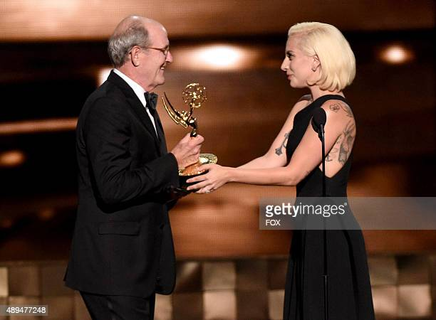 Actress/recording artist Lady Gaga presents the Outstanding Lead Actor in a Limited Series or Movie award to actor Richard Jenkins for 'Olive...