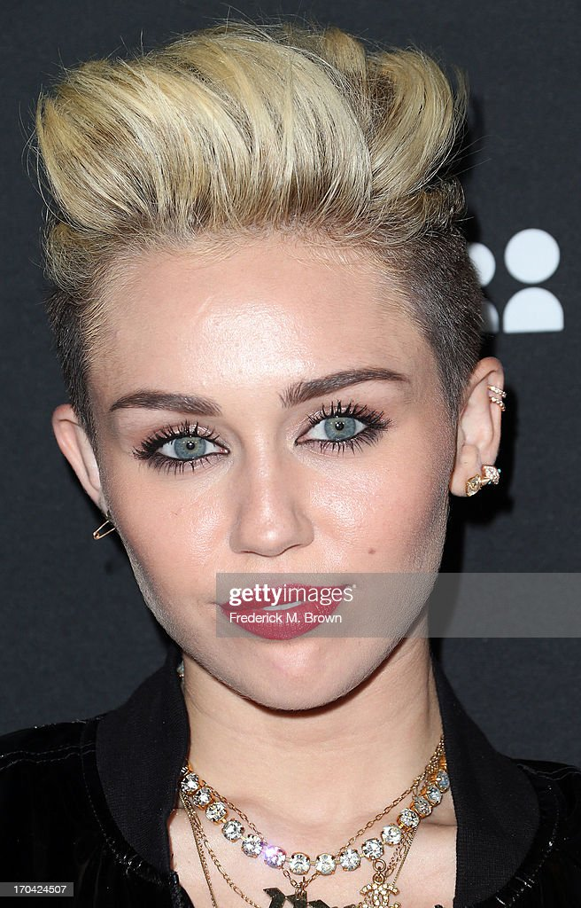 Actress/recording artist <a gi-track='captionPersonalityLinkClicked' href=/galleries/search?phrase=Miley+Cyrus&family=editorial&specificpeople=3973523 ng-click='$event.stopPropagation()'>Miley Cyrus</a> attends the Myspace Event at the El Rey Theatre on June 12, 2013 in Los Angeles, California.