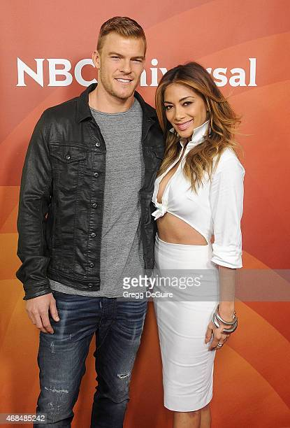 Actress/recording artist Nicole Scherzinger and actor Alan Ritchson arrive at the 2015 NBCUniversal Summer Press Day at The Langham Huntington Hotel...