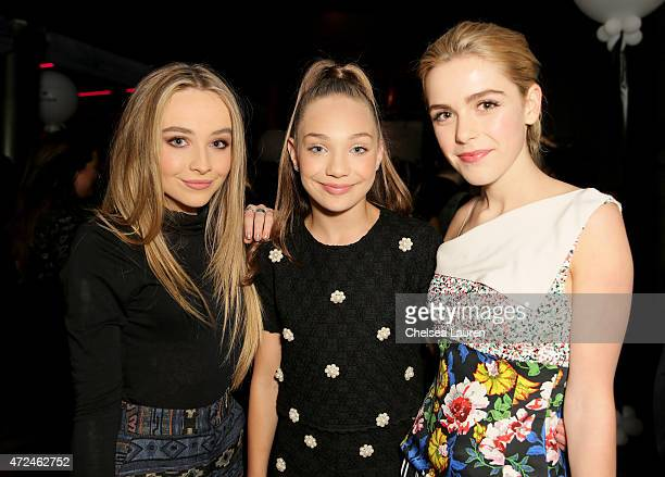 Actress/recording artist Sabrina Carpenter TV personality Maddie Ziegler and actress Kiernan Shipka attends the NYLON Young Hollywood Party presented...