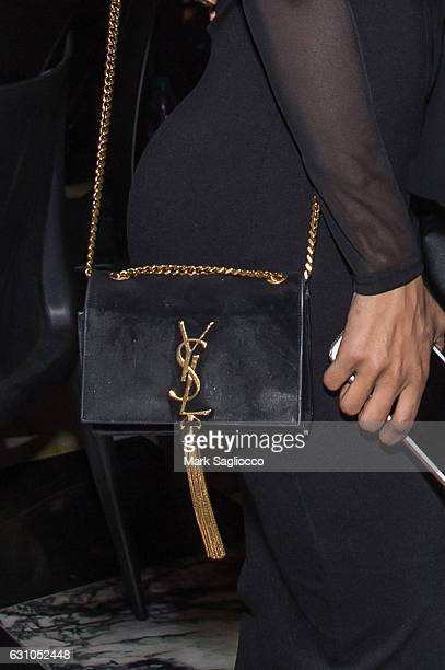 Actress/Recording Artist Teyana Taylor purse detail attends the Forbes Dinner Honoring Jeezy at the Hunt Fish Club on January 5 2017 in New York City