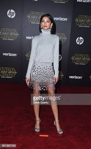 Actress/recording artist Zendaya arrives at the premiere of Walt Disney Pictures' and Lucasfilm's 'Star Wars The Force Awakens' at the Dolby Theatre...