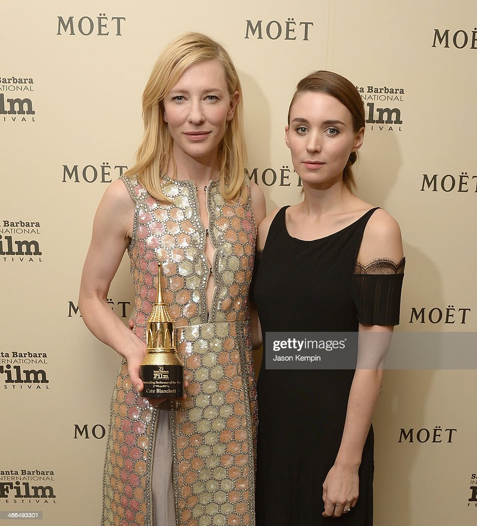 Actress's <a gi-track='captionPersonalityLinkClicked' href=/galleries/search?phrase=Cate+Blanchett&family=editorial&specificpeople=201621 ng-click='$event.stopPropagation()'>Cate Blanchett</a> and <a gi-track='captionPersonalityLinkClicked' href=/galleries/search?phrase=Rooney+Mara&family=editorial&specificpeople=5669181 ng-click='$event.stopPropagation()'>Rooney Mara</a> attend the Moet & Chandon Lounge at The 2014 Santa Barbara International Film Festival at The Arlington Theater on February 1, 2014 in Santa Barbara, California.
