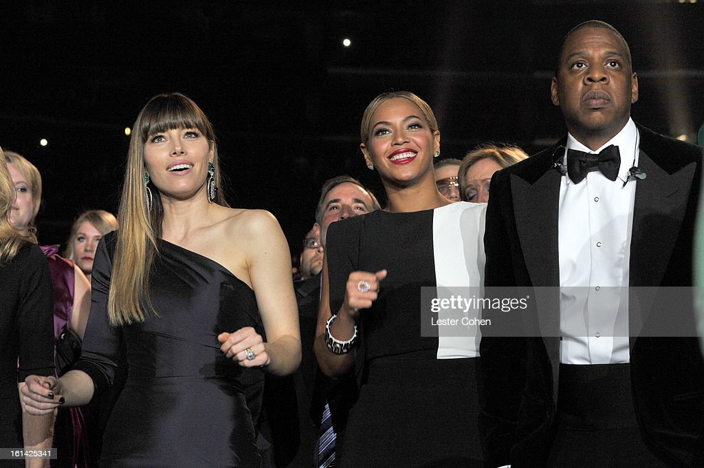 Actresss Jessica Biel, Singers Beyonce and Jay-Z attend the 55th Annual GRAMMY Awards at STAPLES Center on February 10, 2013 in Los Angeles, California.