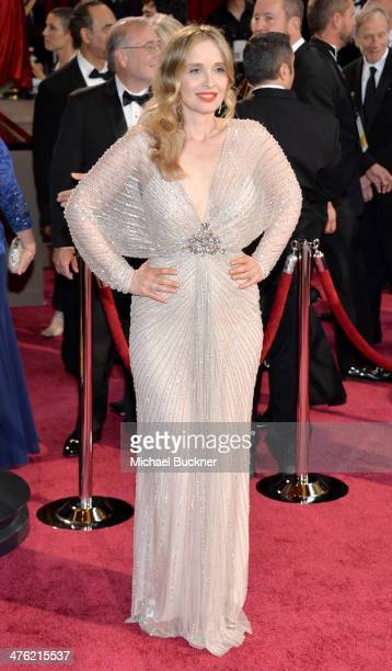 Actress/screenwriter Julie Delpy attends the Oscars held at Hollywood Highland Center on March 2 2014 in Hollywood California