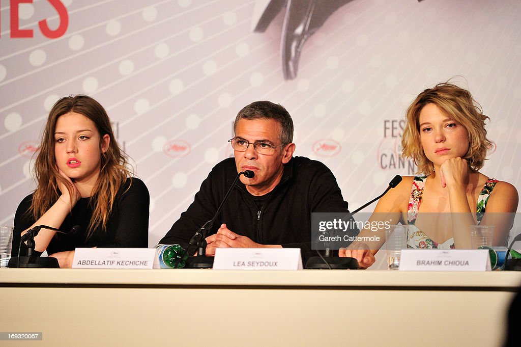 Actressses Adele Exarchopoulo, director <a gi-track='captionPersonalityLinkClicked' href=/galleries/search?phrase=Abdellatif+Kechiche&family=editorial&specificpeople=2549398 ng-click='$event.stopPropagation()'>Abdellatif Kechiche</a> and Lea Seydoux attend the 'La Vie D'Adele' press conference at The 66th Annual Cannes Film Festival at the Palais des Festival on May 23, 2013 in Cannes, France.