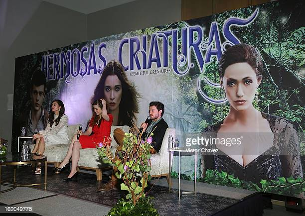 Actressses Emmy Rossum Alice Englert and actor Alden Ehrenreich attend the 'Beautiful Creatures' Mexico City press conference at St Regis Hotel on...