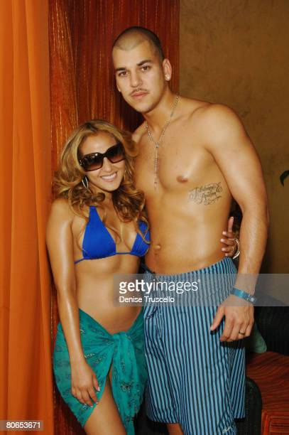 Actress/Singer Adrienne Bailon and TV personality Robert Kardashian attend the TAO Beach Grand Summer Opening 2008 at TAO Beach in The Venetian Hotel...