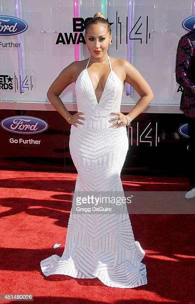 Actress/singer Adrienne Bailon arrives at the BET AWARDS 14 at Nokia Theatre LA Live on June 29 2014 in Los Angeles California