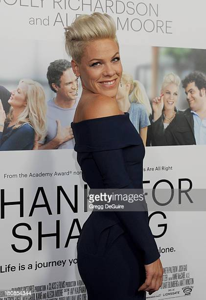 Actress/singer Alecia Moore arrives at the Los Angeles premiere of 'Thanks For Sharing' at ArcLight Hollywood on September 16 2013 in Hollywood...