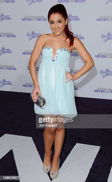Actress/singer Ariana Grande arrives at the Los Angeles Premiere 'Justin Bieber Never Say Never' at Nokia Theatre LA Live on February 8 2011 in Los...