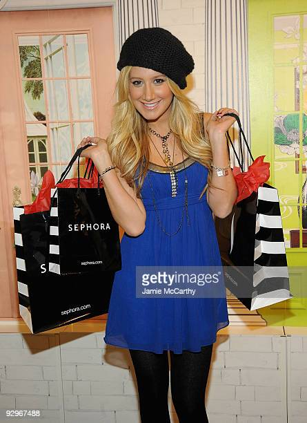 Actress/Singer Ashley Tisdale shops at the Sephora Beauty Insider Event presented by Glamour at Sephora Fifth Avenue on November 10 2009 in New York...