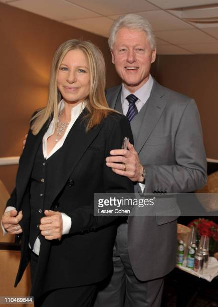 Actress/singer Barbra Streisand and President Bill Clinton pose backstage at the 2011 Public Counsel's Annual Event Honoring President Bill Clinton...