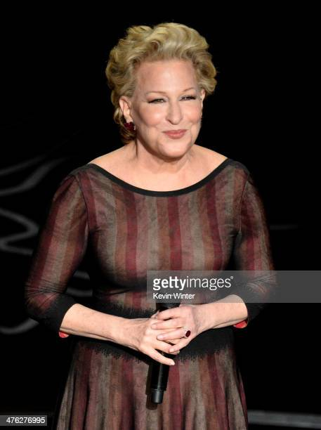 Actress/singer Bette Midler performs onstage during the Oscars at the Dolby Theatre on March 2 2014 in Hollywood California