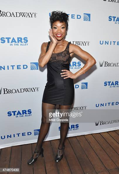 Actress/singer Brandy Norwood attends the #StarsInTheAlley Outdoor Concert Featuring Darren Criss at Shubert Alley on May 27 2015 in New York City