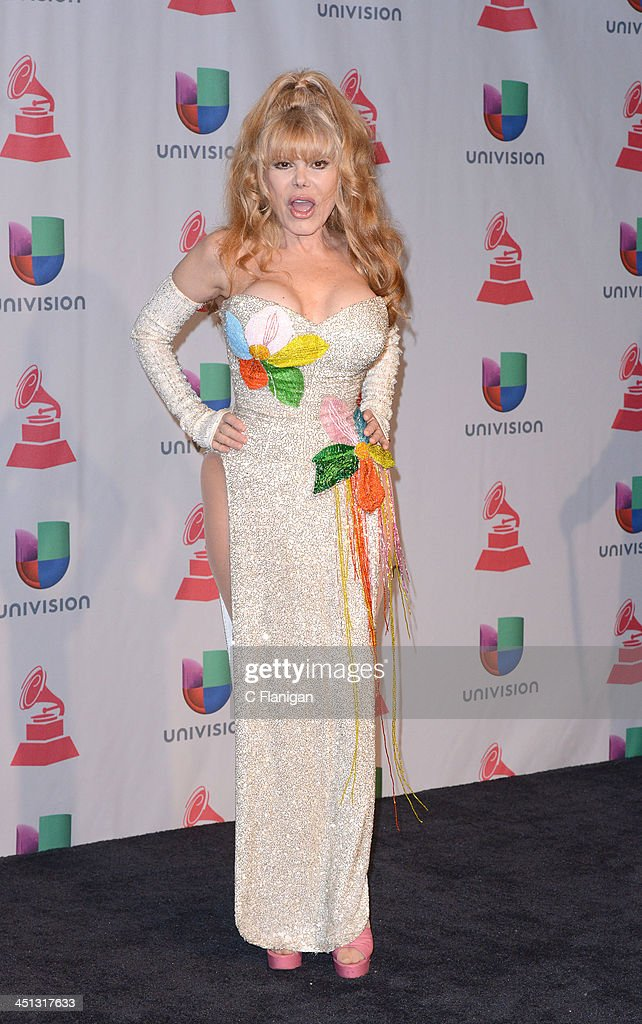 Actress/singer Charo poses backstage during The 14th Annual Latin GRAMMY Awards at the Mandalay Bay Events Center on November 21, 2013 in Las Vegas, Nevada.