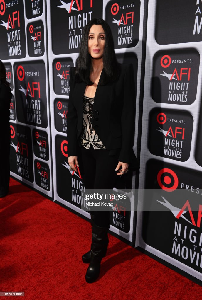 Actress/singer <a gi-track='captionPersonalityLinkClicked' href=/galleries/search?phrase=Cher+-+Performer&family=editorial&specificpeople=203036 ng-click='$event.stopPropagation()'>Cher</a> arrives on the red carpet for Target Presents AFI's Night at the Movies at ArcLight Cinemas on April 24, 2013 in Hollywood, California.