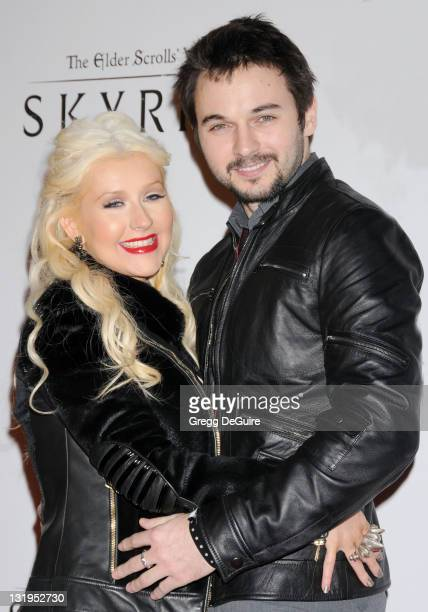 Actress/singer Christina Aguilera and boyfriend Matt Rutler arrive at 'The Elder Scrolls V Skyrim' Video Game Launch Party at Belasco Theatre on...