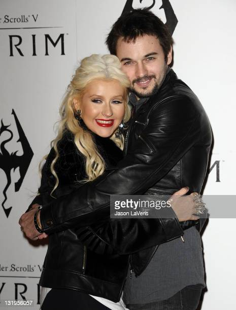 Actress/singer Christina Aguilera and boyfriend Matt Rutler attend the 'The Elder Scrolls V Skyrim' video game launch party at Belasco Theatre on...
