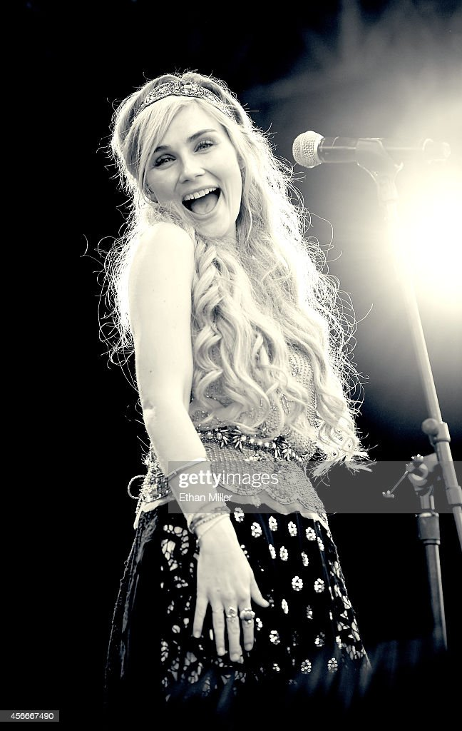 Actress/singer Clare Bowen performs during the Route 91 Harvest country music festival at the MGM Resorts Village on October 4 2014 in Las Vegas...