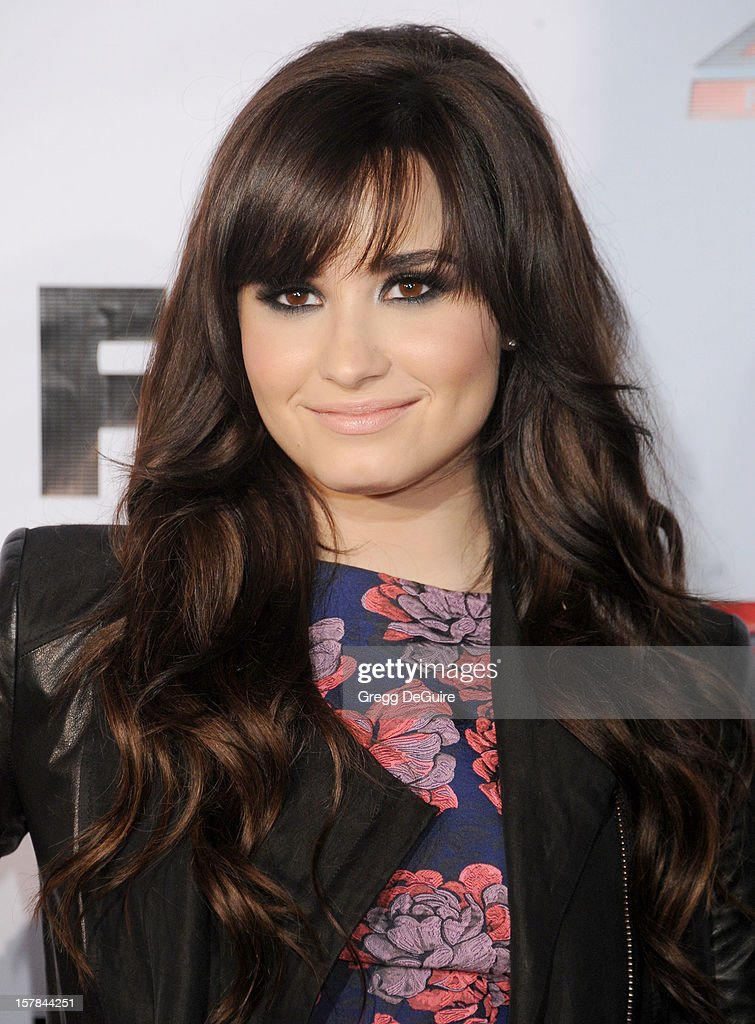 Actress/singer <a gi-track='captionPersonalityLinkClicked' href=/galleries/search?phrase=Demi+Lovato&family=editorial&specificpeople=4897002 ng-click='$event.stopPropagation()'>Demi Lovato</a> arrives at FOX's 'The X Factor' viewing party at Mixology101 & Planet Dailies on December 6, 2012 in Los Angeles, California.