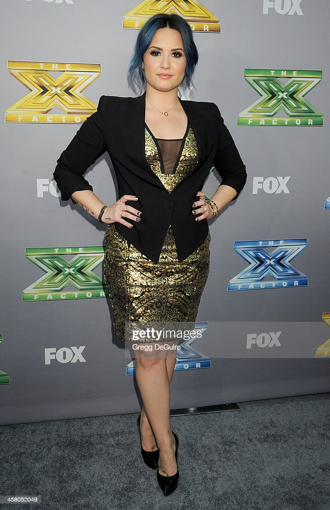 Actress/singer <a gi-track='captionPersonalityLinkClicked' href=/galleries/search?phrase=Demi+Lovato&family=editorial&specificpeople=4897002 ng-click='$event.stopPropagation()'>Demi Lovato</a> attends FOX's 'The X Factor' season finale at CBS Television City on December 19, 2013 in Los Angeles, California.