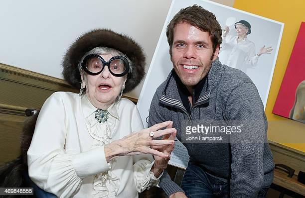 Actress/singer Elaine Stritch and Perez Hilton attend the 'Elaine Stritch Shoot Me' preview event at Crosby Street Hotel on February 16 2014 in New...