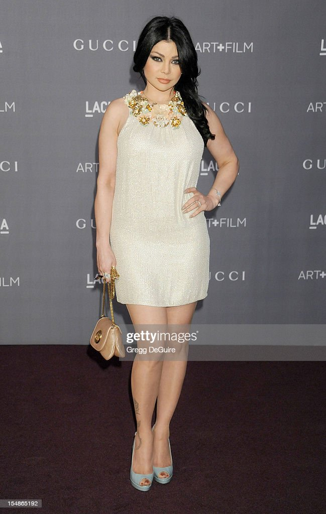Actress/singer <a gi-track='captionPersonalityLinkClicked' href=/galleries/search?phrase=Haifa+Wehbe&family=editorial&specificpeople=587264 ng-click='$event.stopPropagation()'>Haifa Wehbe</a> arrives at LACMA Art + Gala at LACMA on October 27, 2012 in Los Angeles, California.