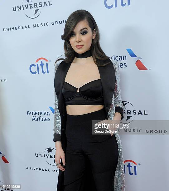 Actress/singer Hailee Steinfeld arrives at Universal Music Group's 2016 GRAMMY After Party at The Theatre At The Ace Hotel on February 15 2016 in Los...