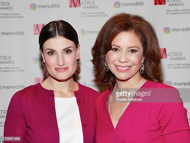 Actress/singer Idina Menzel and TV news anchor Dana Tyler attend the 2011 Matrix Awards at The Waldorf=Astoria on April 11 2011 in New York City