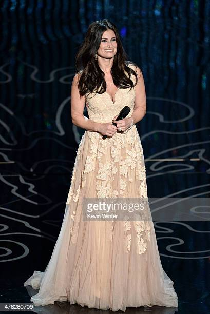 Actress/singer Idina Menzel performs onstage during the Oscars at the Dolby Theatre on March 2 2014 in Hollywood California