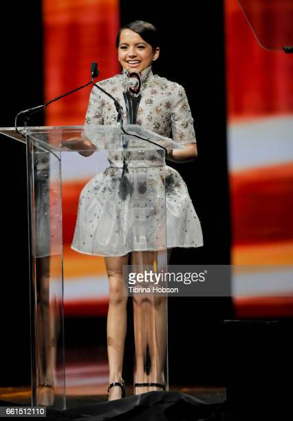 Actress/singer Isabela Moner recipient of the Rising Star of the Year Award speaks onstage at the CinemaCon Big Screen Achievement Awards at The...