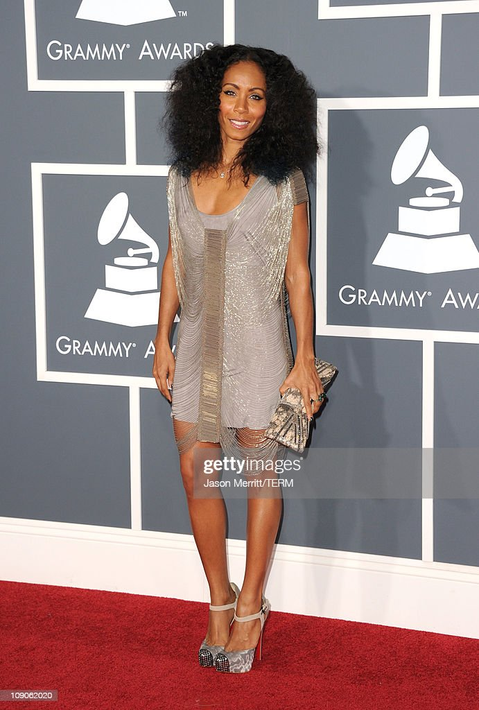 Actress/singer <a gi-track='captionPersonalityLinkClicked' href=/galleries/search?phrase=Jada+Pinkett+Smith&family=editorial&specificpeople=201837 ng-click='$event.stopPropagation()'>Jada Pinkett Smith</a> arrive at The 53rd Annual GRAMMY Awards held at Staples Center on February 13, 2011 in Los Angeles, California.