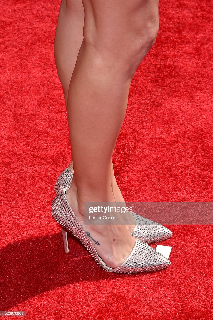 Actress/singer Jana Kramer, shoe detail, attends the 2016 American Country Countdown Awards at The Forum on May 1, 2016 in Inglewood, California.