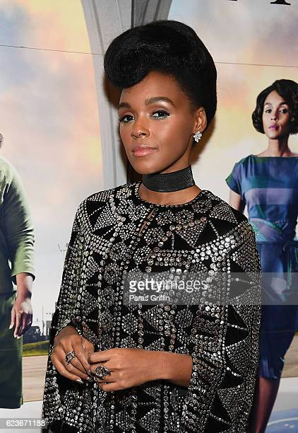 Actress/singer Janelle Monae attends 'Hidden Figures' advanced screening hosted by Janelle Monae Pharrell Williams at Regal Cinemas Atlantic Station...
